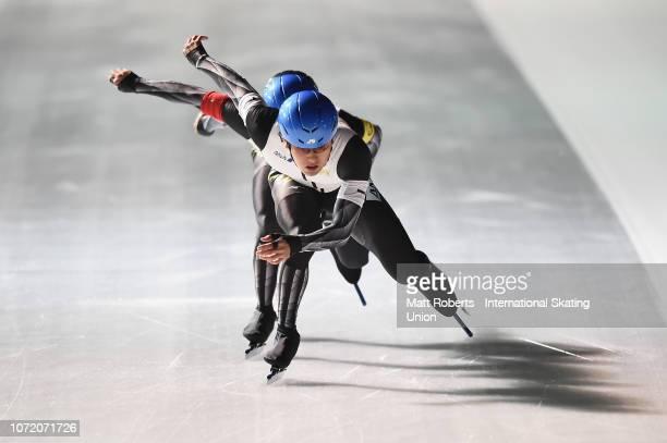 Yuma Murakami Tsubasa Hasegawa and Yuto Fujino of Japan compete during the Men's Team Sprint on day three of the ISU World Cup Speed Skating at...