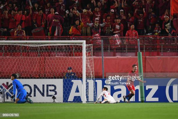 Yuma Suzuki of Kashima Antlers celebrates his side's third goal during the AFC Champions League Round of 16 first leg match between Kashima Antlers...