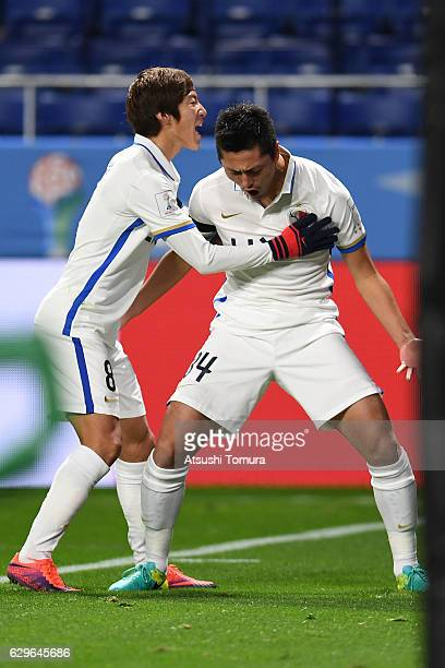 Yuma Suzuki of Kashima Antlers celebrates scoring goal with his team mate during the FIFA Club World Cup Japan semi-final match between Atletico...