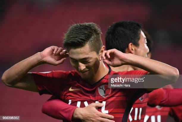 Yuma Suzuki of Kashima Antlers celebrates scoring the opening goal during the AFC Champions League Round of 16 first leg match between Kashima...