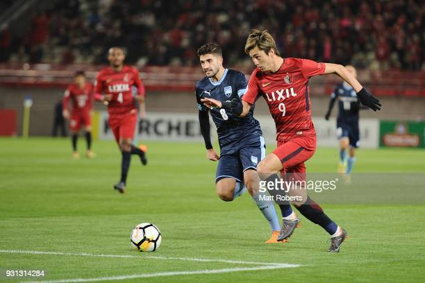 Yuma Suzuki of Kashima Antlers competes for the ball during the AFC Champions League Group H match between Kashima Antlers and Sydney FC at Kashima...