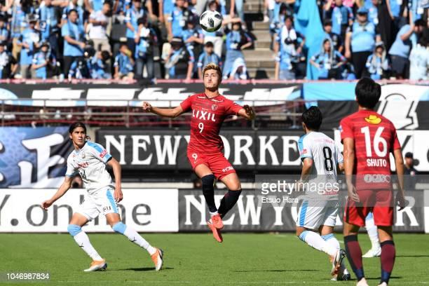 Yuma Suzuki of Kashima Antlers in action during the JLeague J1 match between Kashima Antlers and Kawasaki Frontale at Kashima Soccer Stadium on...