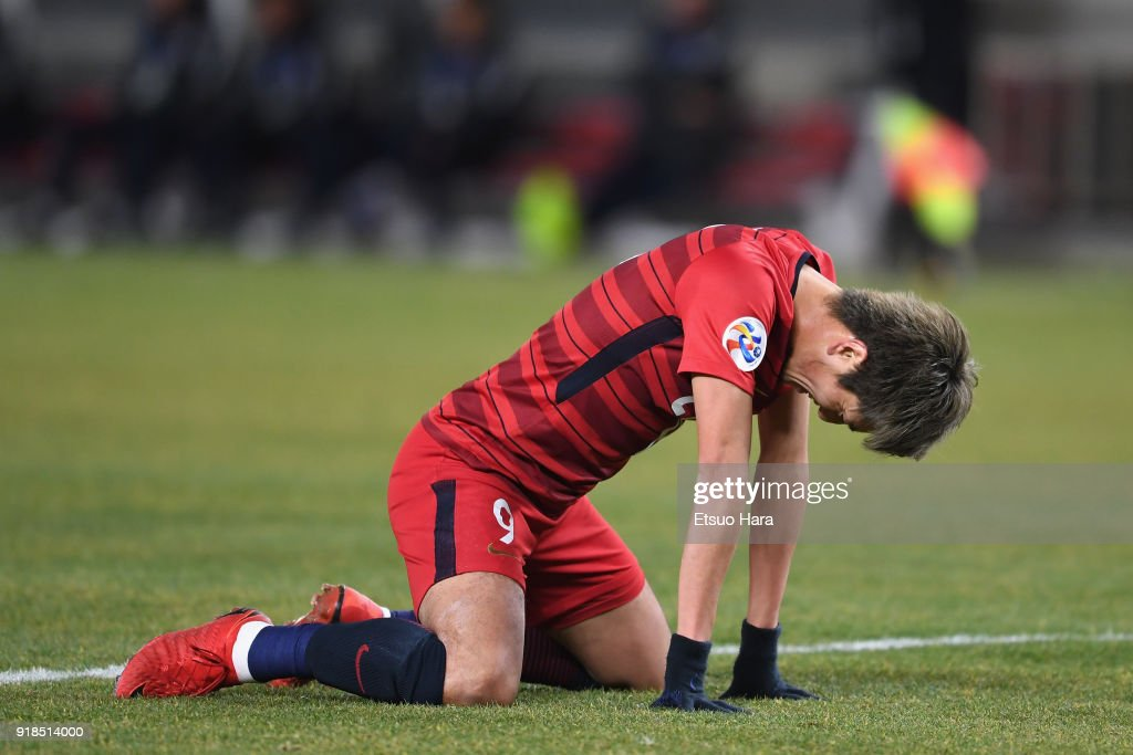 Yuma Suzuki of Kashima Antlers reacts during the AFC Champions League Group H match between Kashima Antlers and Shanghai Shenhua at Kashima Soccer Stadium on February 14, 2018 in Kashima, Ibaraki, Japan.