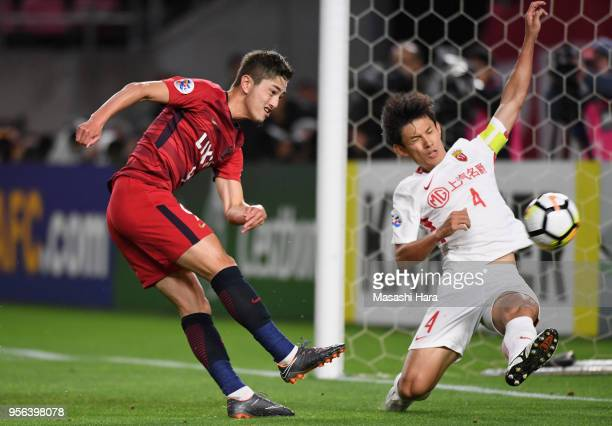 Yuma Suzuki of Kashima Antlers scores the opening goal during the AFC Champions League Round of 16 first leg match between Kashima Antlers and...