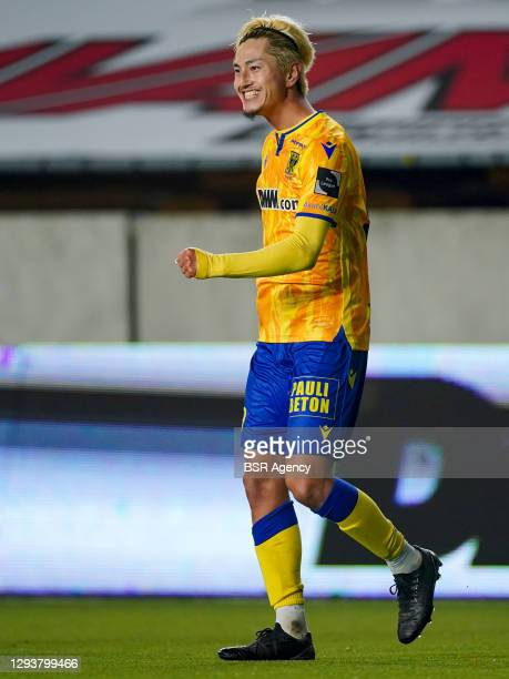 Yuma Suzuki of Sint Truidense VV celebrates scoring a goal during the Pro League match between STVV and Beerschot VA at Stayen on December 30, 2020...