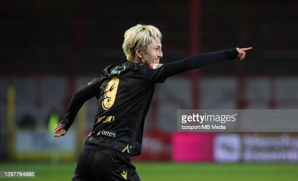 Yuma Suzuki of STVV celebrates after scoring the 0-2 goal during the Jupiler Pro League match between KV Kortrijk and STVV at Guldensporen Stadion on...