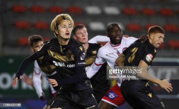Yuma Suzuki of STVV during the Jupiler Pro League match between Royal Excel Mouscron and STVV at Stade Le Canonnier on December 1, 2020 in Mouscron,...