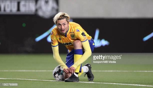 Yuma Suzuki of STVV during the Jupiler Pro League match between STVV and Zulte Waregem at Stayen on February 13, 2021 in Sint-Truiden, Belgium.
