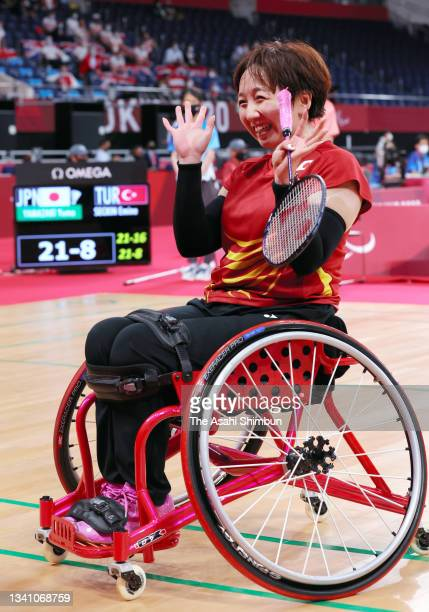 Yuma Yamazaki of Team Japan celebrates winning the bronze medal after competing in the Badminton Women's Singles WH2 bronze medal match against Emine...