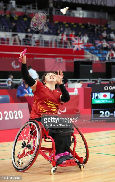 Yuma Yamazaki of Team Japan competes in the Badminton Women's Singles WH2 bronze medal match against Emine Seckin of Team Turkey on day 11 of the...