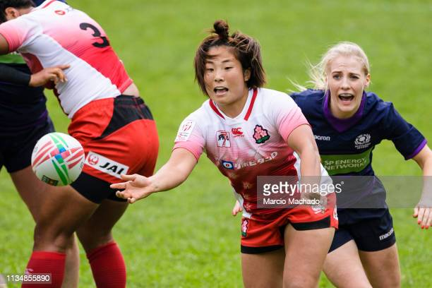 Yume Okuroda of Japan in action during the qualifier ahead of the Cathay Pacific/HSBC Hong Kong Sevens at the Hong Kong Stadium on April 4, 2019 in...