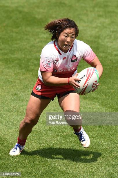Yume Okuroda of Japan runs with the ball during theChallenge Trophy semifinal between Japan and Fiji on day two of the HSBC Women's Rugby Sevens...
