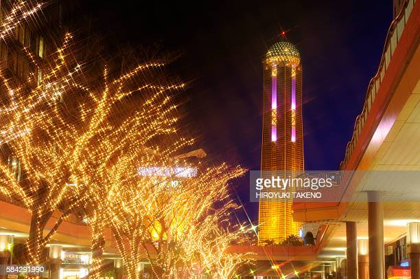 yume tower and christmas illuminations - 山口県 ストックフォトと画像