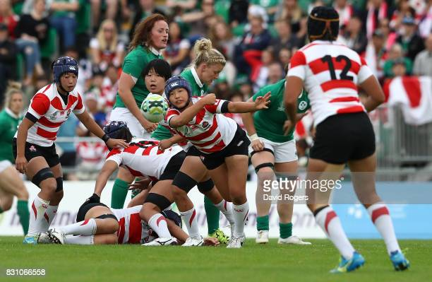 Yumeno Noda of Japan passes during the Women's Rugby World Cup 2017 match between Ireland and Japan on August 13 2017 in Dublin Ireland