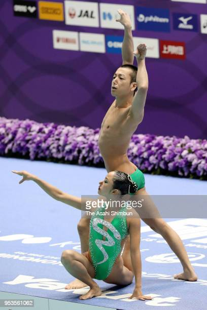 Yumi Adachi and Atsushi Abe of Japan compete in the Mixed Duet Free Routine final on day three of the FINA Artistic Swimming Japan Open at the Tokyo...