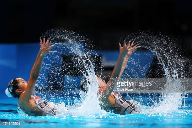 Yumi Adachi and Yukiko Inui of Japan compete in the Synchronized Swimming Duet Technical preliminary round on day two of the 15th FINA World...