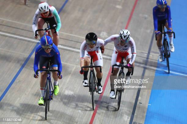 Yumi Kajihara and Kie Furuyama of Japan compete in Women's Madison the on day four of the UCI Track Cycling World Championships held in the BGZ BNP...