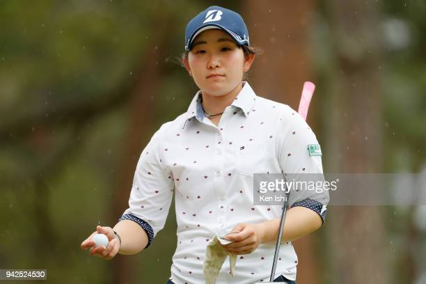 Yumi Kudo of Japan reacts on the 18th green during the final round of the Hanasaka Ladies Yanmar Golf Tournament at Biwako Country Club on April 6...