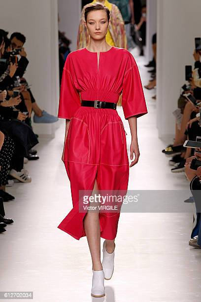 Yumi Lambert walks the runway during the Hermes Ready to Wear fashion show as part of the Paris Fashion Week Womenswear Spring/Summer 2017 on October...