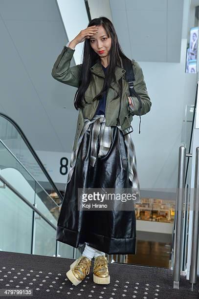Yumi Nagao wears JW Anderson at MercedesBenz Fashion Week Tokyo Autumn/Winter 2014 at Shibuya Hiakrie on March 20 2014 in Tokyo Japan
