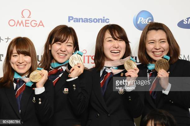 Yumi Suzuki, Chinami Yoshida, Satsuki and Mari Motohashi pose with their medals during the PyeongChang Winter Olympic Games Japan Team press...