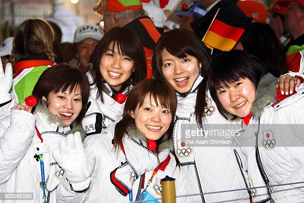 Yumie Hayashi Sakurako Terada Ayumi Onodera Mari Motohashi and Moe Meugoro of Japan Women's Curling team attend the Closing Ceremony of the Turin...