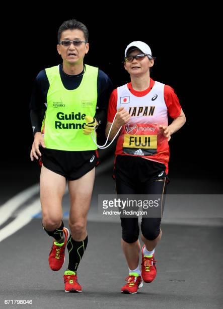Yumiko Fuji of Japan competes during the Virgin Money London Marathon on April 23 2017 in London England