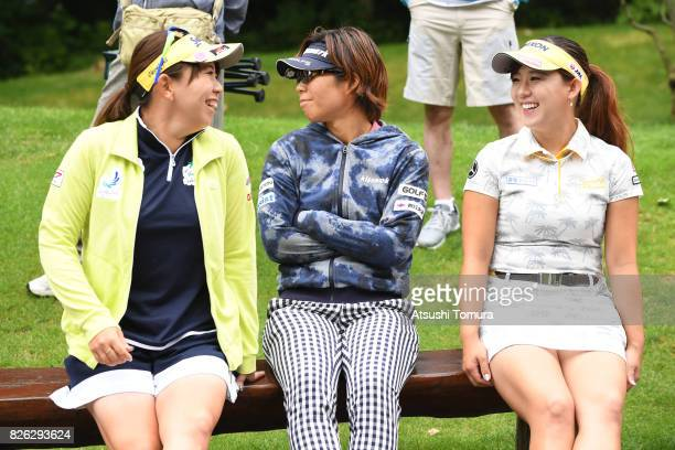 Yumiko Yoshida Lala Anai and Kotono Kozuma of Japan smile during the first round of the meiji Cup 2017 at the Sapporo Kokusai Country Club Shimamatsu...