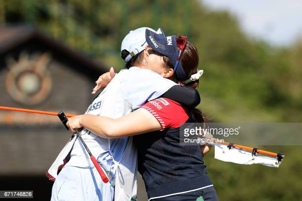 Yumiko Yoshida of Japan celebrates after a winning putt on the 18th green during the final round of Fujisankei Ladies Classic at the Kawana Hotel...