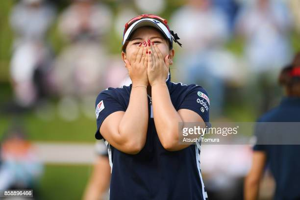Yumiko Yoshida of Japan celebrates after winning the Stanley Ladies Golf Tournament at the Tomei Country Club on October 8 2017 in Susono Shizuoka...