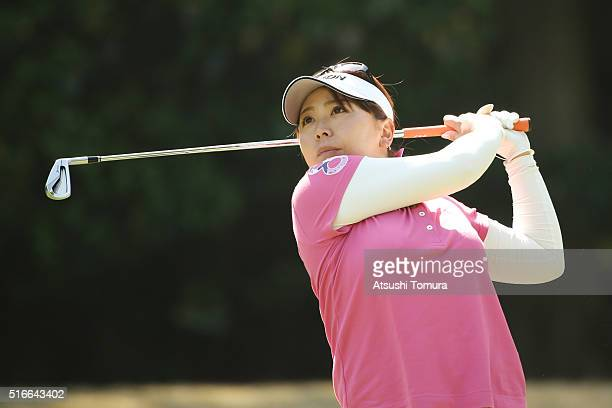 Yumiko Yoshida of Japan hits her tee shot on the 3rd hole during the T-Point Ladies Golf Tournament at the Wakagi Golf Club on March 20, 2016 in...