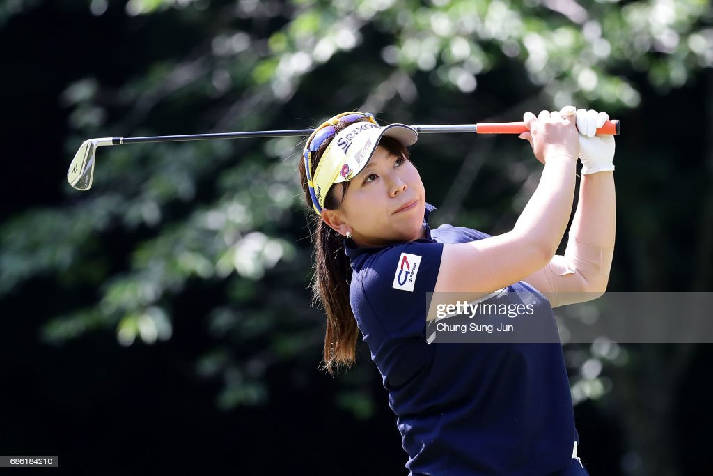 Yumiko Yoshida of Japan plays a tee shot on the 5th hole during the final round of the Chukyo Television Bridgestone Ladies Open at the Chukyo Golf Club Ishino Course on May 21, 2017 in Toyota, Japan.