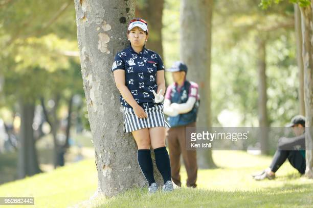 Yumiko Yoshida of Japan poses for a photo on the 15th hole during the final round of the CyberAgent Ladies Golf Tournament at Grand fields Country...
