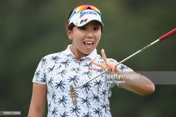 Yumiko Yoshida of Japan reacts after her putt on the 18th green during the first round of the Munsingwear Ladies Tokai Classic at Shin Minami Aichi...