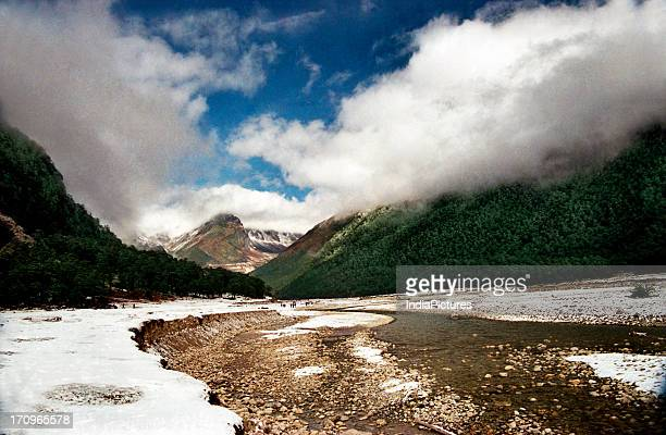 Yumthang valley of north Sikkim India in winter Yumthang Chu river situated near IndoChina border in the eastern Himalaya Yumthang Sikkim India India