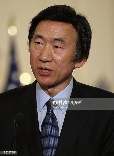 Yun Byung-Se, Minister of Foreign Affairs and Trade of the Republic of Korea speaks to the media at the State Department, April 2, 2013 in...