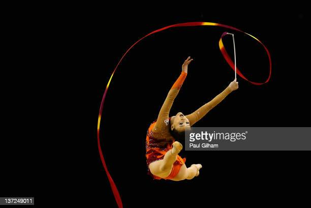 Yun Hee Gim of Korea in action in the Individual AllAround during the FIG Rhythmic Gymnastics Olympic Qualification round at North Greenwich Arena on...