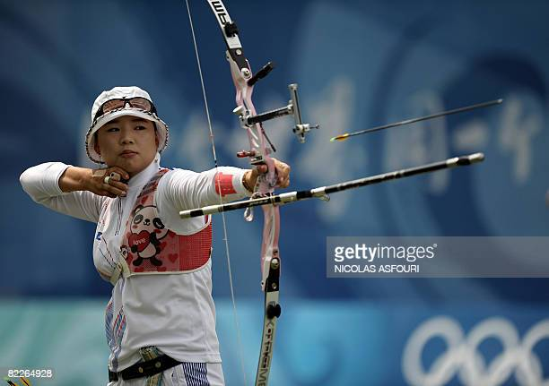 Yun OkHee of South Korea competes in the women's archery 1/32 eliminatories during the 2008 Beijing Olympic Games at the Capital Gymnasium in Beijing...