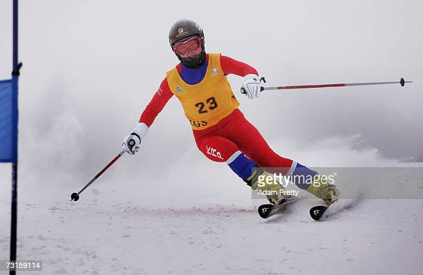 Yun Ran Hui of the Peoples Republic of Korea in action during the womens Giant Slalom of the sixth Asian Winter Games at Jilin Beida Lake Skiing Site...