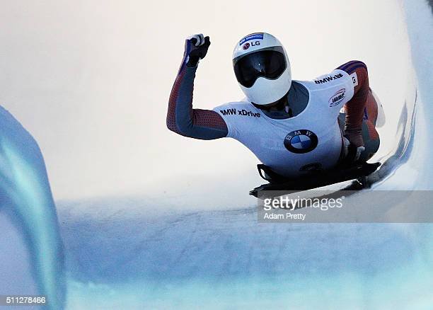 Yun Sungbin of Korea celebrates second place in the Men's Skeleton during Day 5 of the IBSF World Championships 2016 at Olympiabobbahn Igls on...