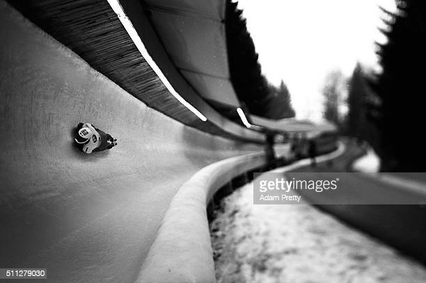 Yun Sungbin of Korea on his way to second place in the Men's Skeleton during Day 5 of the IBSF World Championships 2016 at Olympiabobbahn Igls on...