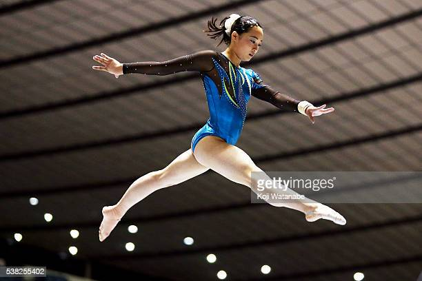 Yuna Hiraiwa competes on on the beam during the AllJapan Gymnastic Appratus Championships at Yoyogi National Gymnasium on June 5 2016 in Tokyo Japan