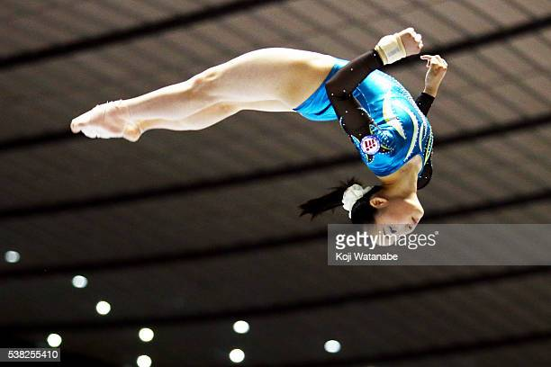 Yuna Hiraiwa competes on on the beam during the AllJapan Gymnastic Appratus Championships at Yoyogi National Gymnasium on June 5 2016 in Tokyo Japan