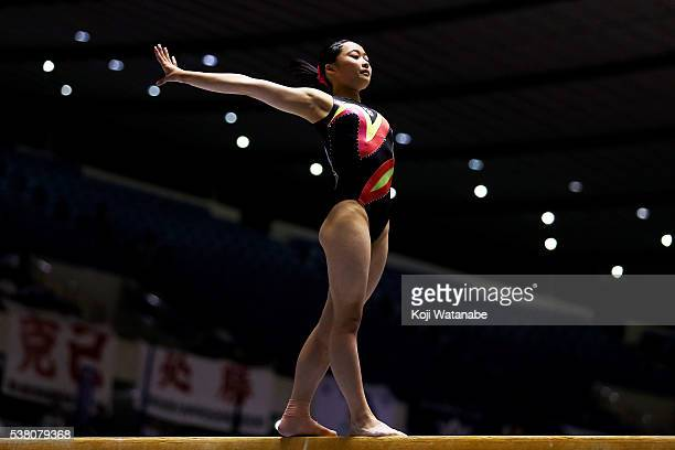 Yuna Hiraiwa competes on the beam during the AllJapan Gymnastic Appratus Championshipsat Yoyogi National Gymnasium on June 4 2016 in Tokyo Japan