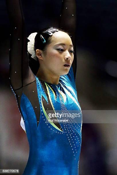 Yuna Hiraiwa looks on the AllJapan Gymnastic Appratus Championshipsat Yoyogi National Gymnasium on June 5 2016 in Tokyo Japan