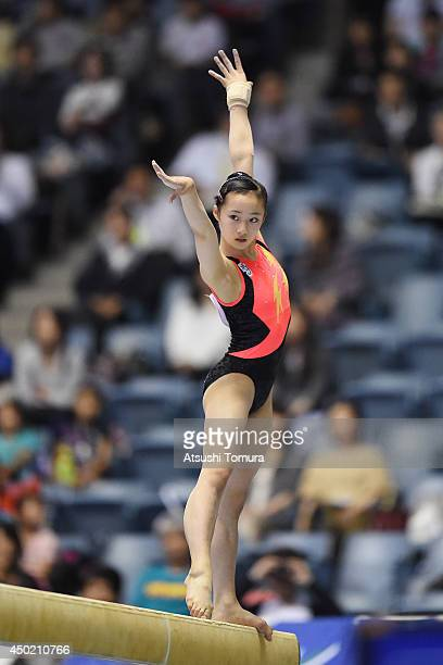 Yuna Hiraiwa of Japan competes in the Balance Beam during day one of the Artistic Gymnastics NHK Trophy at Yoyogi National Gymnasium on June 7 2014...