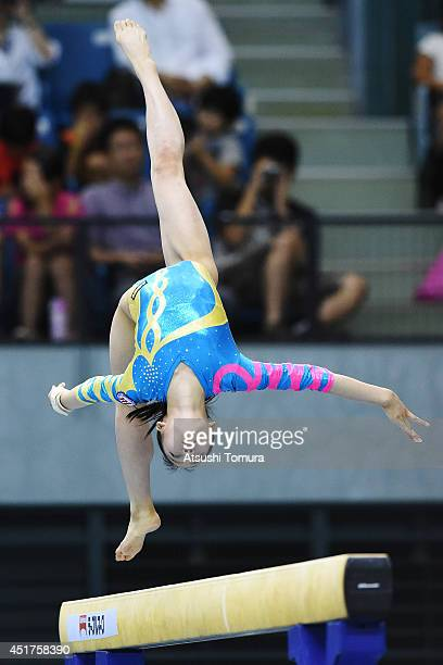 Yuna Hiraiwa of Japan competes in the Balance Beam during the 68th All Japan Gymnastics Apparatus Championships on July 6 2014 in Chiba Japan