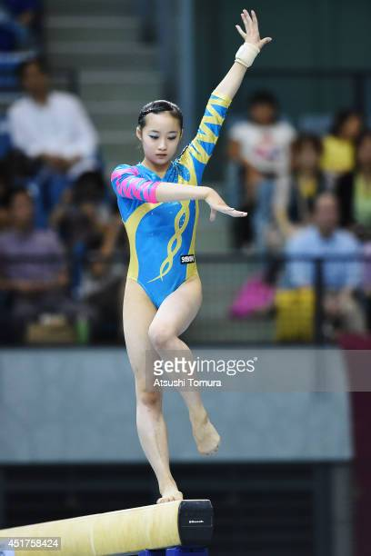Yuna Hiraiwa of Japan competes in the Balance Beam during the 68th All Japan Gymnastics Apparatus Championships on July 6 2014 in Chiba Japan