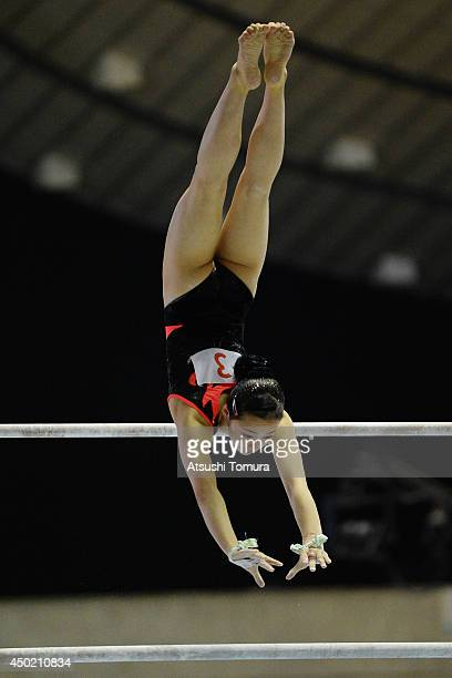 Yuna Hiraiwa of Japan competes in the Uneven Bars during day one of the Artistic Gymnastics NHK Trophy at Yoyogi National Gymnasium on June 7 2014 in...