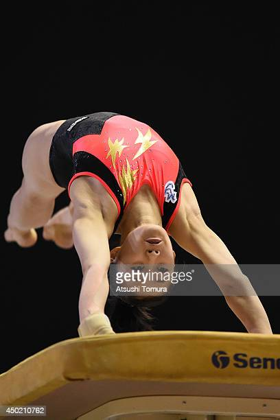 Yuna Hiraiwa of Japan competes on the Vault during day one of the Artistic Gymnastics NHK Trophy at Yoyogi National Gymnasium on June 7 2014 in Tokyo...
